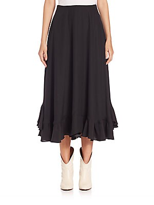 Ruffled Silk Midi Skirt