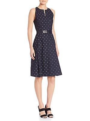 Dotted A-Line Denim Dress