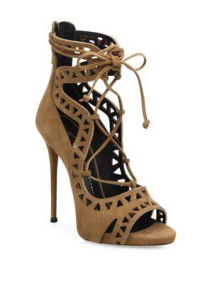 Laser-Cut Suede Lace-Up Sandals Giuseppe Zanotti