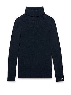 gucci girls little girls ribbed wool silk turtleneck sweater