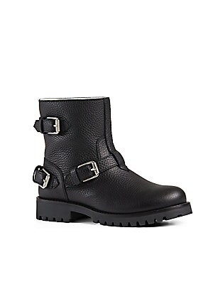 Kid's Buckled Leather Moto Boots