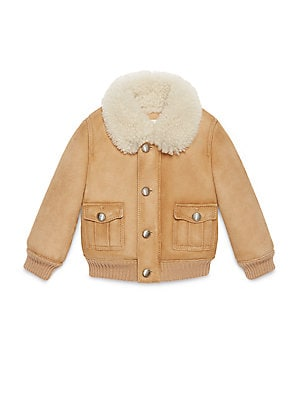 gucci baby babys shearling lined bomber jacket