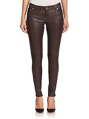 michael kors female coated skinny zip pants