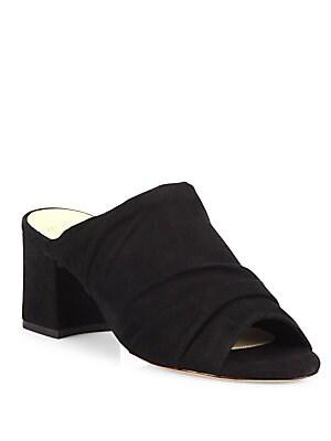 Sierra Suede Block-Heel Mules