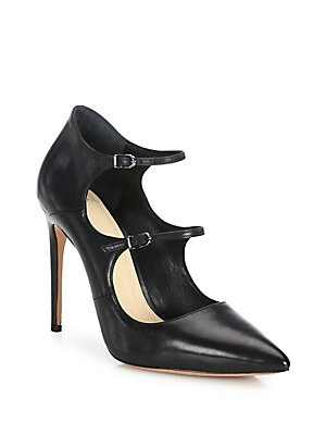 Leather Mary Jane Point Toe Pumps