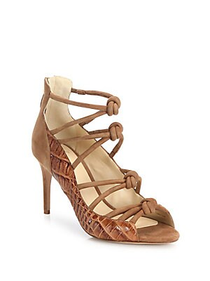 Crocodile & Knotted Suede Cage Sandals