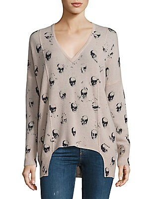 Hollis Cashmere Skull-Print Sweater