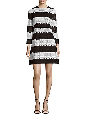 Striped Lace Fit-and-Flare Dress