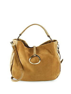 Top Handle Leather Hobo Bag