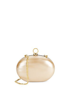 Halston Goldtone Crossbody Minaudiere Purse