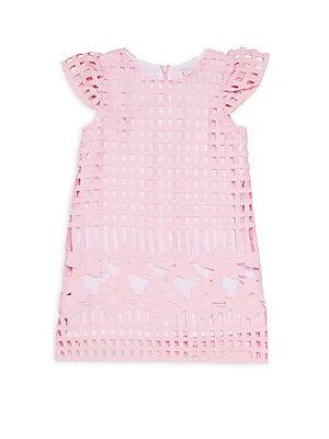 Little Girl's Floral Grid-Cutout Dress