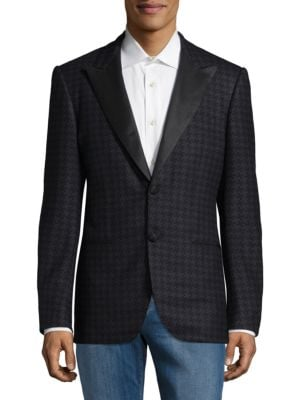 Regular Fit Houndstooth Wool Sportcoat Kiton