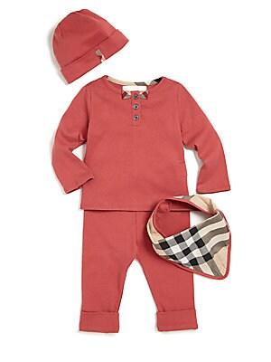 Baby's Four-Piece Top, Pants, Bib & Hat Set