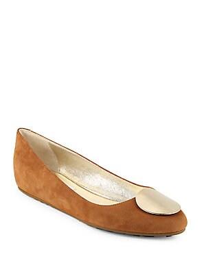 Almond-Toe Suede Flats