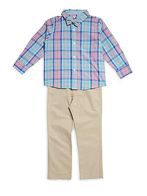 Little Boy's Plaid Shirt & Pant Set