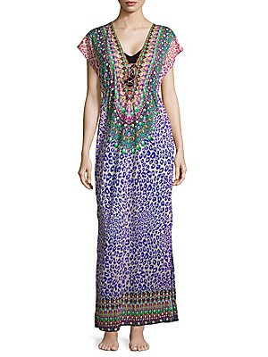 Printed Short-Sleeve Cover-Up