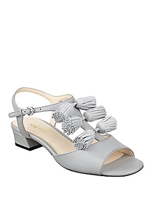 Daelyn Leather T-Strap Sandals
