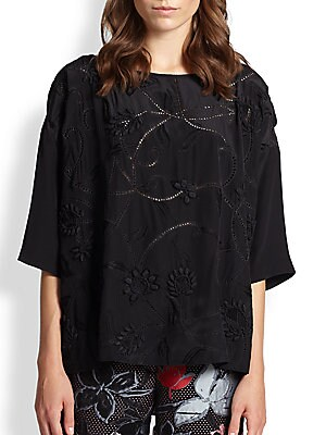 Embroidered Silk Boxy Top