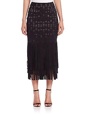 Suede & Silk Fringe Midi Skirt