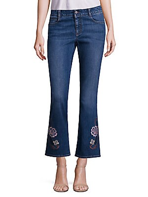 Skinny Kick Flare Jeans withFloral Embroidery