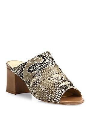 Python Block Heel Mules