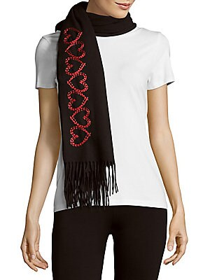 Embroidered Heart-Motif Virgin Wool Scarf