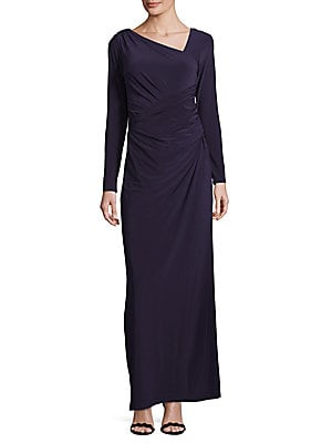 vera wang female asymmetrical poppy floorlength dress