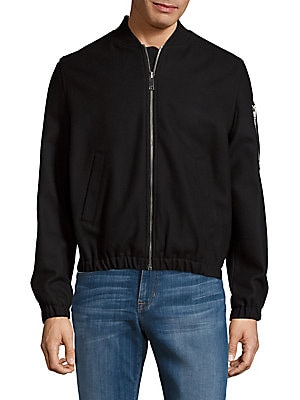 Virgin Wool-Blend Zipper Jacket