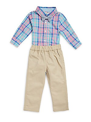 Baby's Two Piece Plaid Cotton Bodysuit & Pants