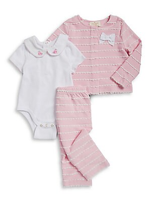 Baby's Scalloped Top, Bodysuit and Pants Set