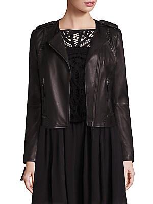 Margolin Studded Leather Moto Jacket