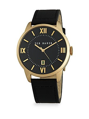 Goldtone Stainless Steel & Leather Analog Watch