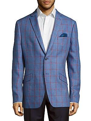 Slim Fit Windowpane Linen Sportcoat