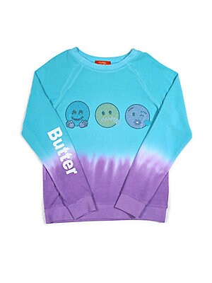 Girl's Emoji Dip-Dye Fleece Sweatshirt