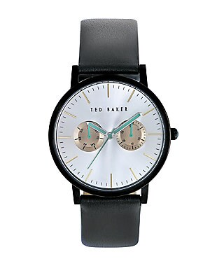 Click here for Smart Casual Black Stainless Steel and Leather Str... prices
