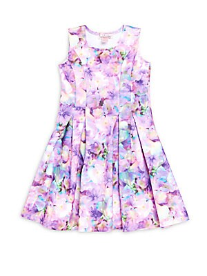 Girl's Floral Print Pleated Dress