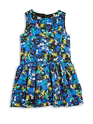 Girl's Jewel-Print Drop-Waist Dress