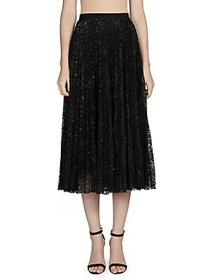Nesrine Pleated Lace Skirt