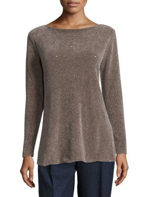 Silk Chenille Sequin Sweater