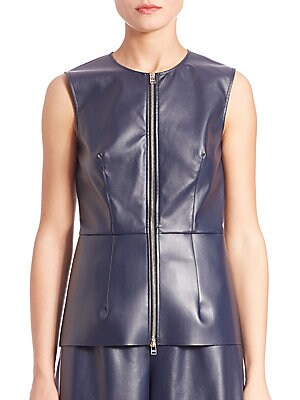 Faux Leather Zip-Front Top