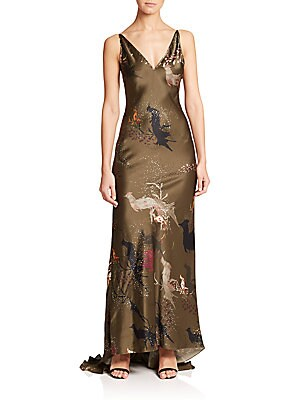 Bird of Paradise-Print Silk Gown