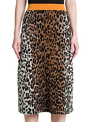 Leopard Print Jacquard Skirt