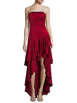 Asymmetrical Ruffled Floor-Length Gown