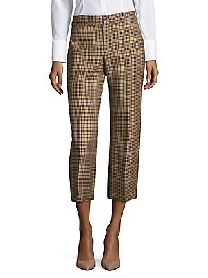Cropped Plaid Wool Pants