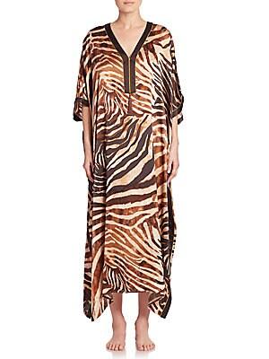 Zebra-Print Silk Caftan