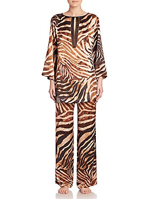 Zebra Print Silk Tunic Pajamas