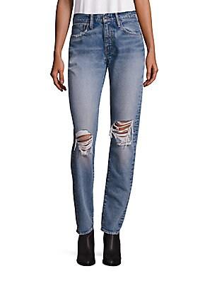 505 Distressed Straight-Leg Jeans