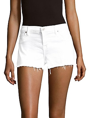 Cotton-Blend Frayed-Cuff Denim Shorts