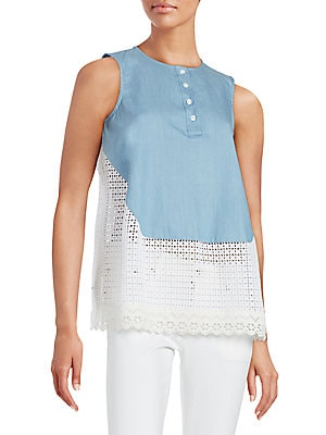 Eyelet Bottom Sleeveless Top