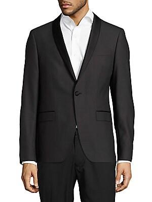 Slim-Fit Wool Shawl Collar Evening Jacket